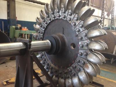 Turbina após a montagem das conchas